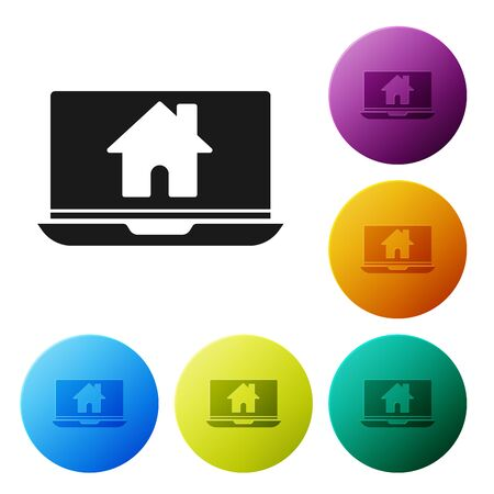 Black Laptop and smart home icon isolated on white background. Remote control. Set icons colorful circle buttons. Vector Illustration Ilustração