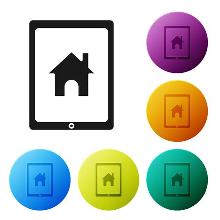 Black Tablet and smart home icon isolated on white background. Remote control. Set icons colorful circle buttons. Vector Illustration