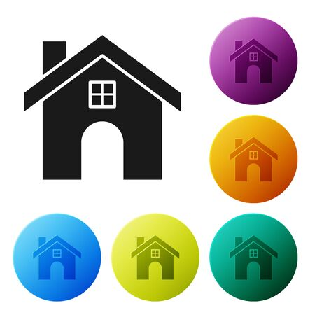 Black House icon isolated on white background. Home symbol. Set icons colorful circle buttons. Vector Illustration Foto de archivo - 132090306