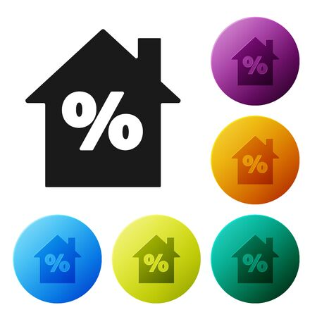 Black House with percant discount tag icon isolated on white background. House percentage sign price. Real estate home. Set icons colorful circle buttons. Vector Illustration  イラスト・ベクター素材