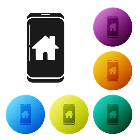 Black Mobile phone with smart home icon isolated on white background. Remote control. Set icons colorful circle buttons. Vector Illustration