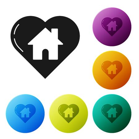 Black House with heart shape icon isolated on white background. Love home symbol. Family, real estate and realty. Set icons colorful circle buttons. Vector Illustration Foto de archivo - 132090316
