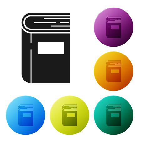 Black Book icon isolated on white background. Set icons colorful circle buttons. Vector Illustration