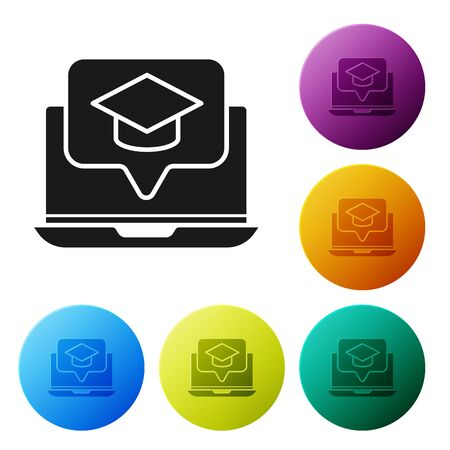 Black Graduation cap on screen laptop icon isolated on white background. Online learning or e-learning concept. Set icons colorful circle buttons. Vector Illustration