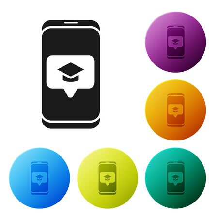 Black Graduation cap on screen smartphone icon isolated on white background. Online learning or e-learning concept. Set icons colorful circle buttons. Vector Illustration 일러스트