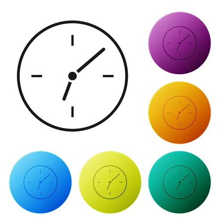 Black Clock icon isolated on white background. Time symbol. Set icons colorful circle buttons. Vector Illustration