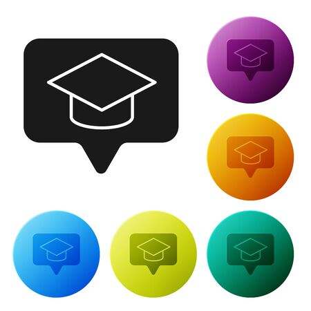 Black Graduation cap in speech bubble icon isolated on white background. Graduation hat with tassel icon. Set icons colorful circle buttons. Vector Illustration