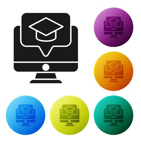 Black Computer monitor with graduation cap icon isolated on white background. Online learning or e-learning concept. Set icons colorful circle buttons. Vector Illustration