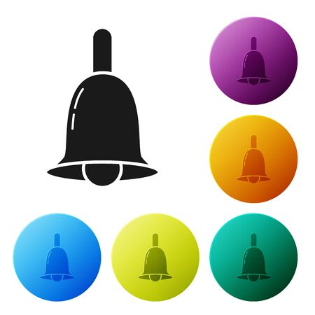 Black Ringing bell icon isolated on white background. Alarm symbol, service bell, handbell sign, notification symbol. Set icons colorful circle buttons. Vector Illustration