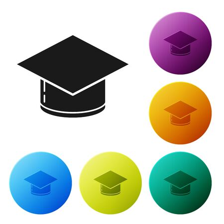 Black Graduation cap icon isolated on white background. Graduation hat with tassel icon. Set icons colorful circle buttons. Vector Illustration 일러스트