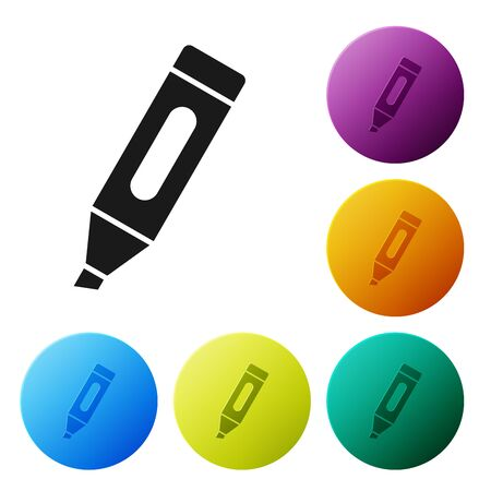 Black Marker pen icon isolated on white background. Set icons colorful circle buttons. Vector Illustration