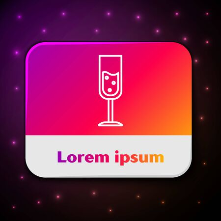 White line Glass of champagne icon isolated on black background. Rectangle color button. Vector Illustration Stockfoto - 132104104
