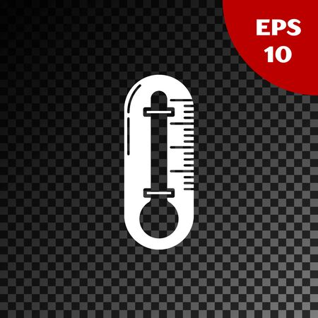 White Thermometer icon isolated on transparent dark background. Vector Illustration 일러스트