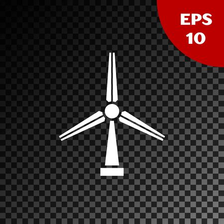 White Wind turbine icon isolated on transparent dark background. Wind generator sign. Windmill silhouette. Windmill for electric power production. Vector Illustration