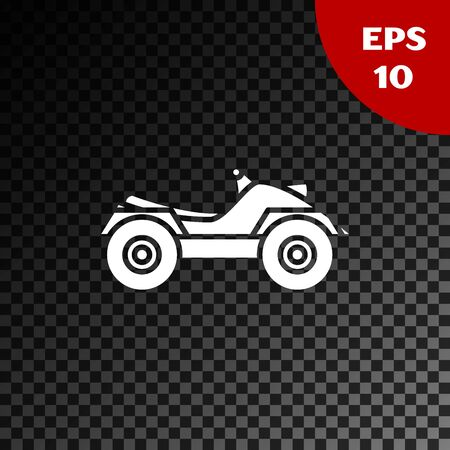 White All Terrain Vehicle or ATV motorcycle icon isolated on transparent dark background. Quad bike. Extreme sport. Vector Illustration Stok Fotoğraf - 132139130
