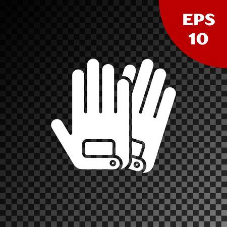 White Gloves icon isolated on transparent dark background. Extreme sport. Sport equipment. Vector Illustration