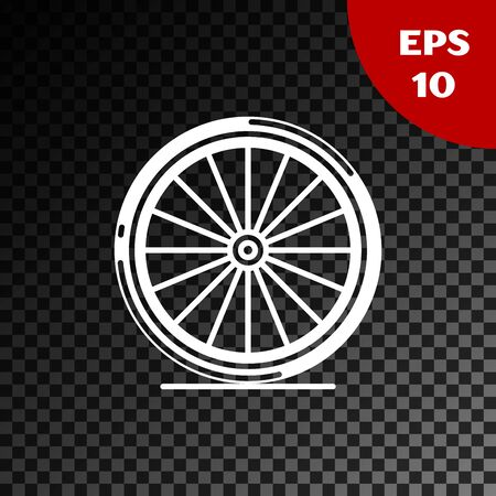 White Bicycle wheel icon isolated on transparent dark background. Bike race. Extreme sport. Sport equipment. Vector Illustration