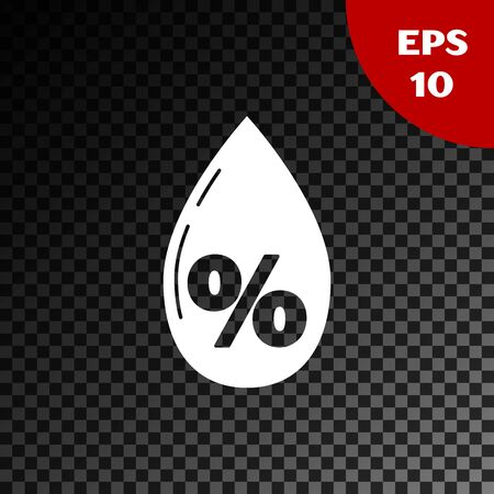White Water drop percentage icon isolated on transparent dark background. Humidity analysis. Vector Illustration