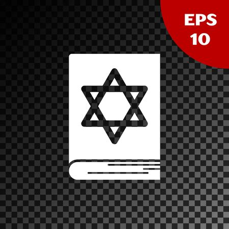 White Jewish torah book icon isolated on transparent dark background. Pentateuch of Moses. On the cover of the Bible is the image of the Star of David. Vector Illustration