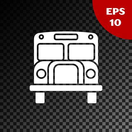 White School Bus icon isolated on transparent dark background. Public transportation symbol. Vector Illustration