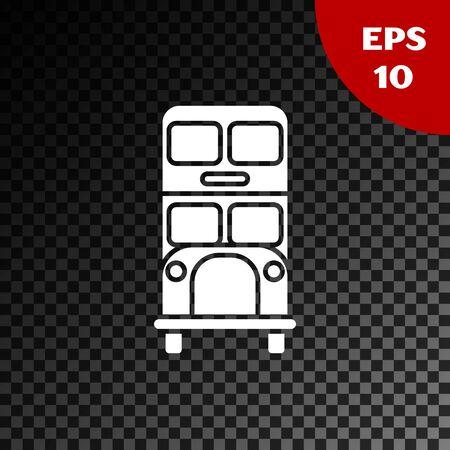 White Double decker bus icon isolated on transparent dark background. London classic passenger bus. Public transportation symbol. Vector Illustration Ilustração