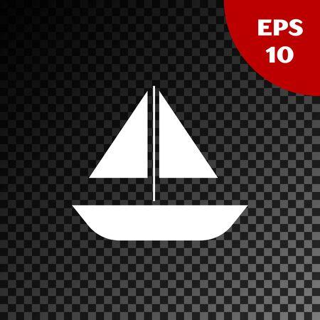 White Yacht sailboat or sailing ship icon isolated on transparent dark background. Sail boat marine cruise travel. Vector Illustration