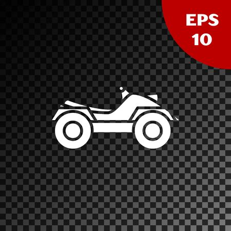 White All Terrain Vehicle or ATV motorcycle icon isolated on transparent dark background. Quad bike. Extreme sport. Vector Illustration