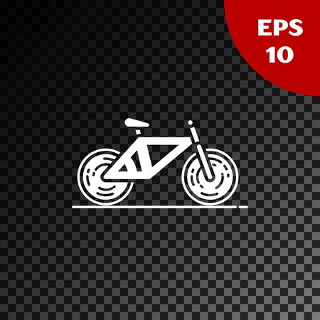White Bicycle icon isolated on transparent dark background. Bike race. Extreme sport. Sport equipment. Vector Illustration
