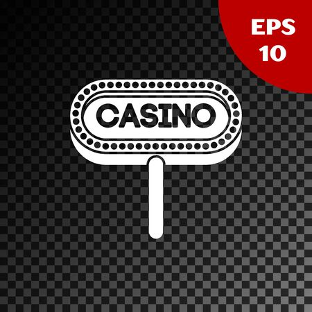 White Casino signboard icon isolated on transparent dark background. Vector Illustration