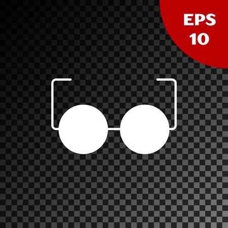 White Glasses icon isolated on transparent dark background. Eyeglass frame symbol. Vector Illustration Illustration