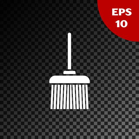 White Handle broom icon isolated on transparent dark background. Cleaning service concept. Vector Illustration