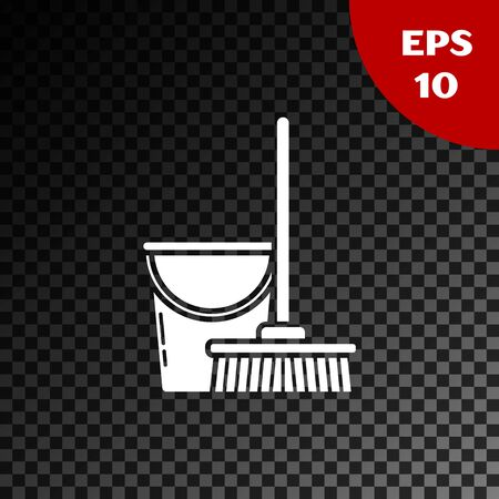 White Mop and bucket icon isolated on transparent dark background. Cleaning service concept. Vector Illustration