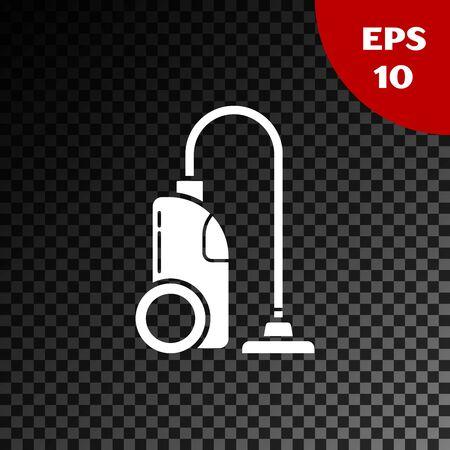 White Vacuum cleaner icon isolated on transparent dark background. Vector Illustration Ilustrace