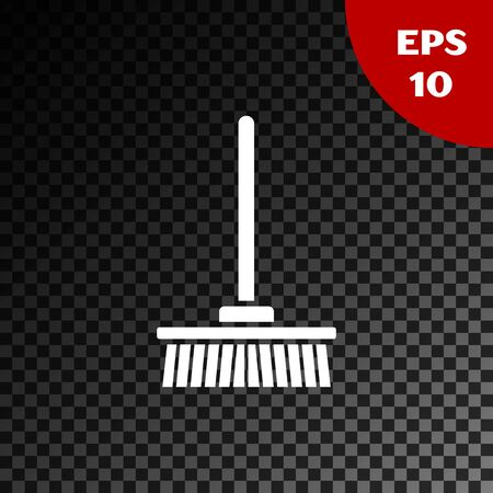 White Mop icon isolated on transparent dark background. Cleaning service concept. Vector Illustration Illustration