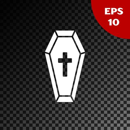 White Coffin with christian cross icon isolated on transparent dark background. Happy Halloween party. Vector Illustration Illustration