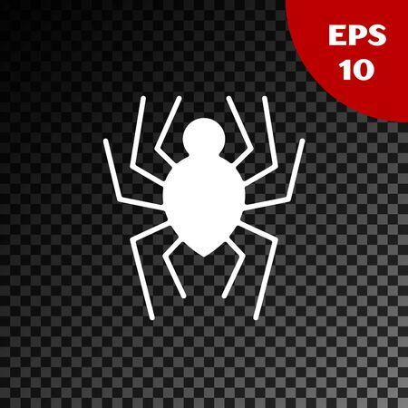 White Spider icon isolated on transparent dark background. Happy Halloween party. Vector Illustration Çizim