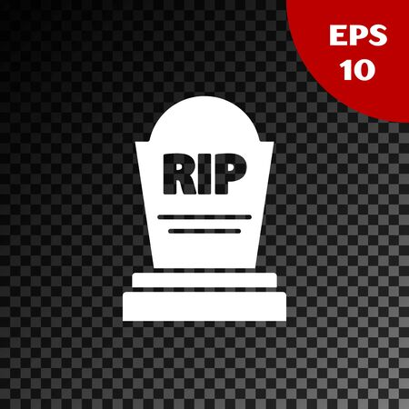 White Tombstone with RIP written on it icon isolated on transparent dark background. Grave icon. Vector Illustration