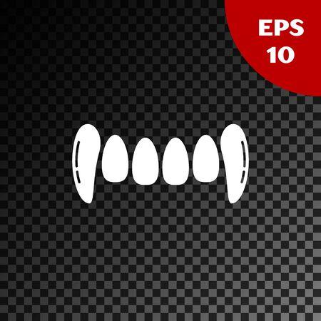 Icono de dientes de vampiro blanco aislado sobre fondo oscuro transparente. Feliz fiesta de Halloween. Ilustración vectorial