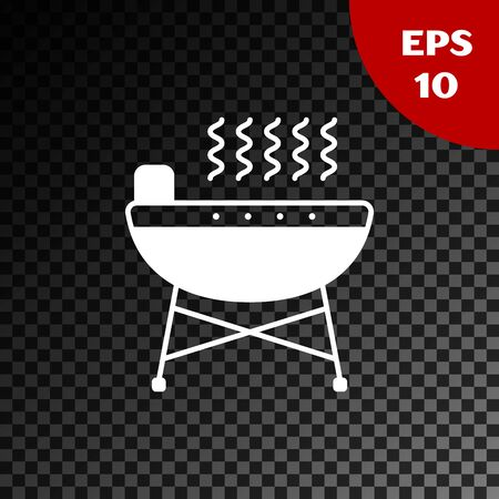 White Barbecue grill icon isolated on transparent dark background. BBQ grill party. Vector Illustration