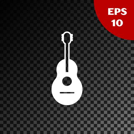 White Guitar icon isolated on transparent dark background. Acoustic guitar. String musical instrument. Vector Illustration Illustration