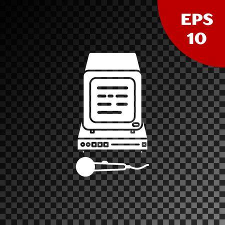 White Karaoke icon isolated on transparent dark background. Microphone and monitor. Vector Illustration Illusztráció