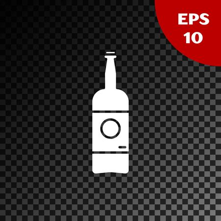 White Beer bottle icon isolated on transparent dark background. Vector Illustration