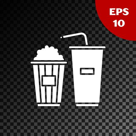 White Popcorn in cardboard box and paper glass with drinking straw and water icon isolated on transparent dark background. Soda drink glass. Vector Illustration Ilustração