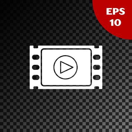 White Play Video icon isolated on transparent dark background. Film strip with play sign. Vector Illustration