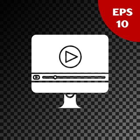 White Online play video icon isolated on transparent dark background. Computer monitor and film strip with play sign. Vector Illustration