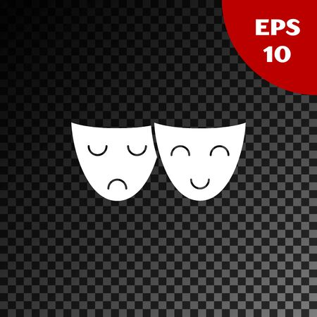 White Comedy and tragedy theatrical masks icon isolated on transparent dark background. Vector Illustration