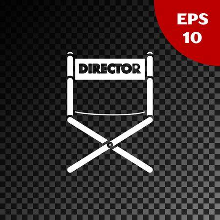 Icône de chaise de film réalisateur blanc isolé sur fond sombre transparent. Industrie du cinéma. Illustration vectorielle