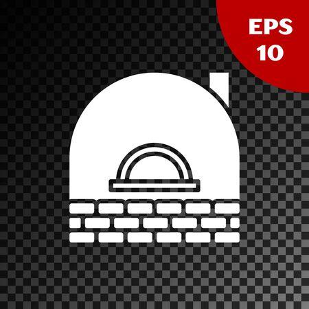 White Brick stove icon isolated on transparent dark background. Brick fireplace, masonry stove, stone oven icon. Vector Illustration Vector Illustratie