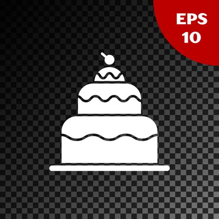 White Cake icon isolated on transparent dark background. Happy Birthday. Vector Illustration