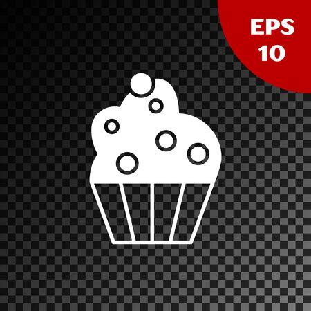 White Cupcake icon isolated on transparent dark background. Vector Illustration